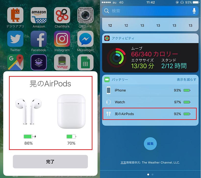 ↑AirPodsを取り出す際にiPhoneに表示される(左)。ウィジェットの「バッテリー」でも確認できる。収納時はケースの電池残量も表示される(右)