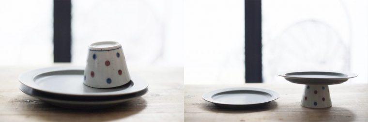 """""""足""""には蕎麦猪口など口が広く、高さはありながら安定した食器が、上に重ねるお皿は、平たく糸尻が大きなものがおすすめ! 模様が入ってカラフルな食器類が、テーブルの上を彩ります。"""