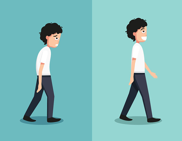 49110419 - best and worst positions for walk, illustration, vector