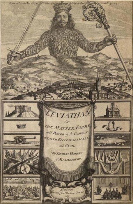 ↑トマス・ホッブズは人間が生み出した国家という巨大で獰猛な存在をレヴィヤタンに例えた