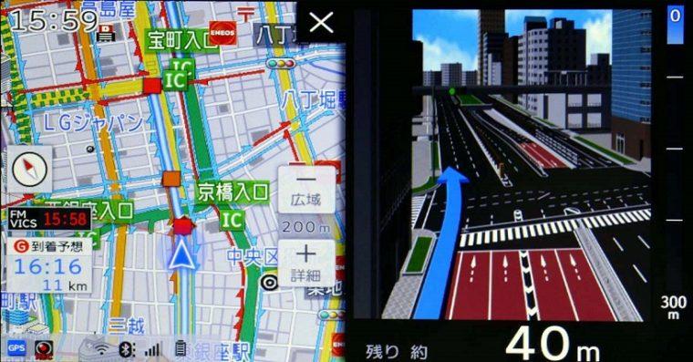 ↑複雑な交差点では周辺をイラストで詳細に見せてガイドする