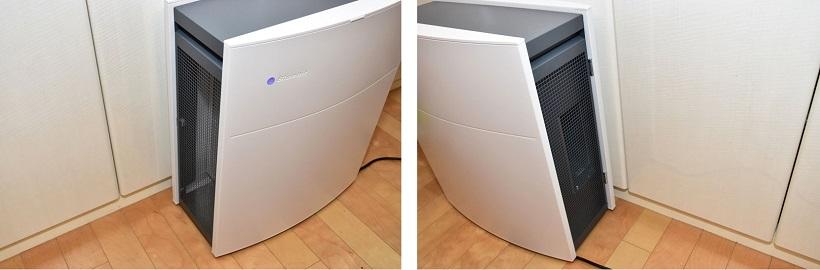 ↑左側面(写真左)から室内の空気を吸い込み、右側面(写真右)から清浄された空気を排出します