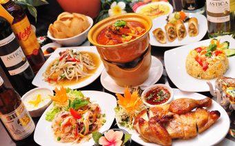 ↑トムヤムクンなどタイ料理の数々。ハーブやスパイスをたっぷり使うのがひとつの特徴です