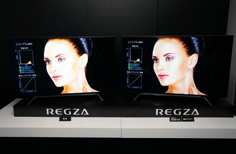 ↑右がZ810Xシリーズ、左が従来のZ20X。美肌リアライザーの効果により、人肌のきめ細かな質感や色合いが再現できる