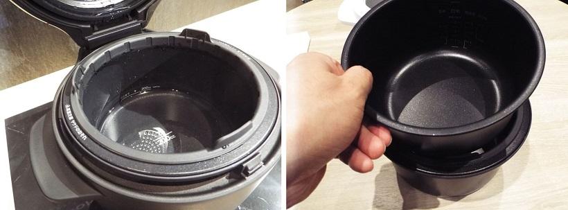 ↑二つの内釜は使用。最初にセットした釜に水を入れ(左)、もう一つの内釜を
