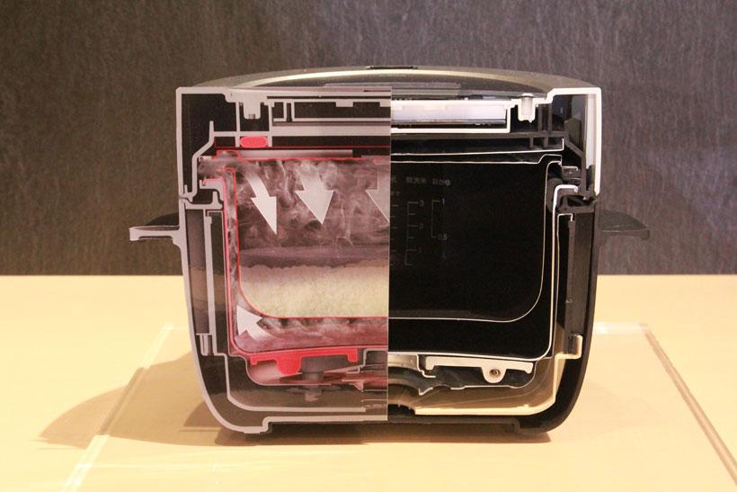 ↑外釜の水が熱せられて蒸気となり、内釜に入って米を炊く仕組み
