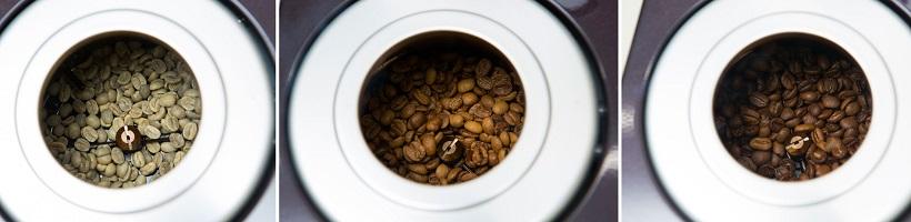 ↑最初は緑がかっていた生豆(左)が、だんだん香ばしい香りとともに見慣れたコーヒー豆に変化していきます。変化をみているだけでも楽しいですね