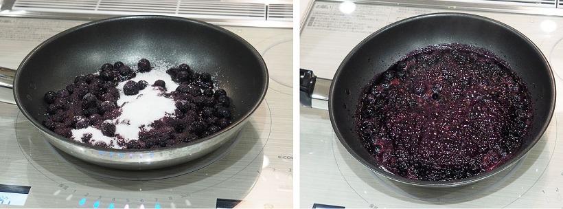 ↑ちなみに、こちらは冷凍ブルーベリーでジャムを調理する実験。ブルーベリーに砂糖を「乗せる」だけ。一度も混ぜることなくジャムができました。焦げやすい砂糖を入れたのに、かき混ぜなくても良いのはスゴイ
