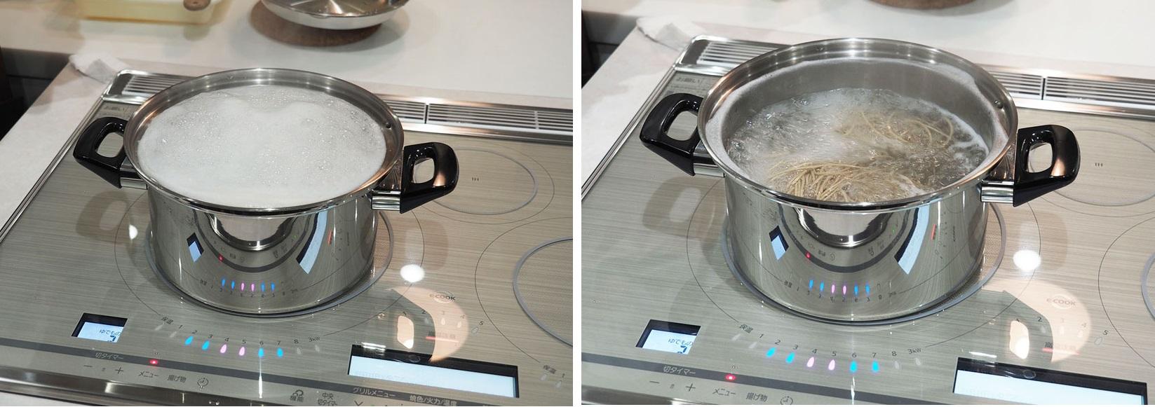 ↑そばを茹でる実験も行われました。泡がモコモコと出てきて「吹きこぼれる!」と感じた瞬間、鍋内の対流方向が切り替わって収まります。これは便利!