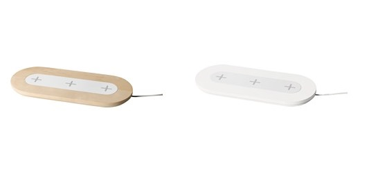 ↑NORDMARKE/ワイヤレス充電パッド(トリプル)/各8990円 ●サイズ:W130×H20×L310㎜ カラー:ホワイト、バーチ