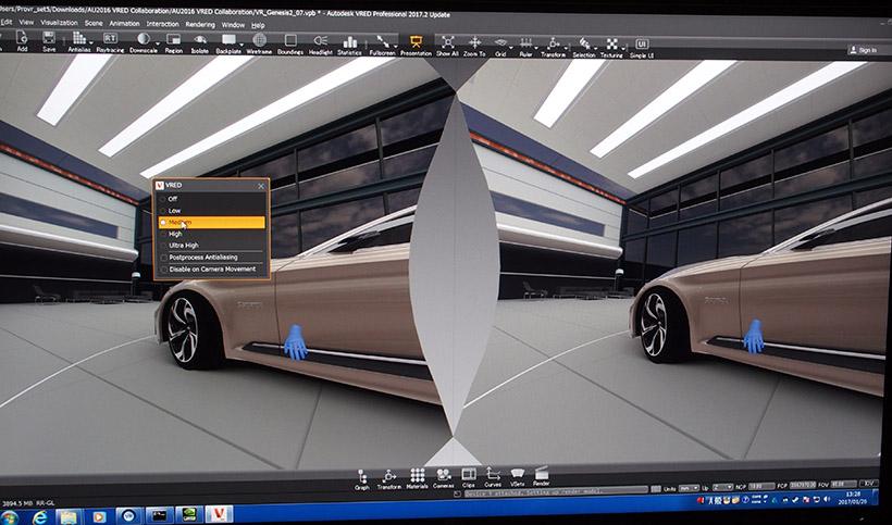 ↑PCモニター内でも車を自在に動かし、細部まで確認できますが、VRを使うことで、サイズ感などをより実感できるようになります