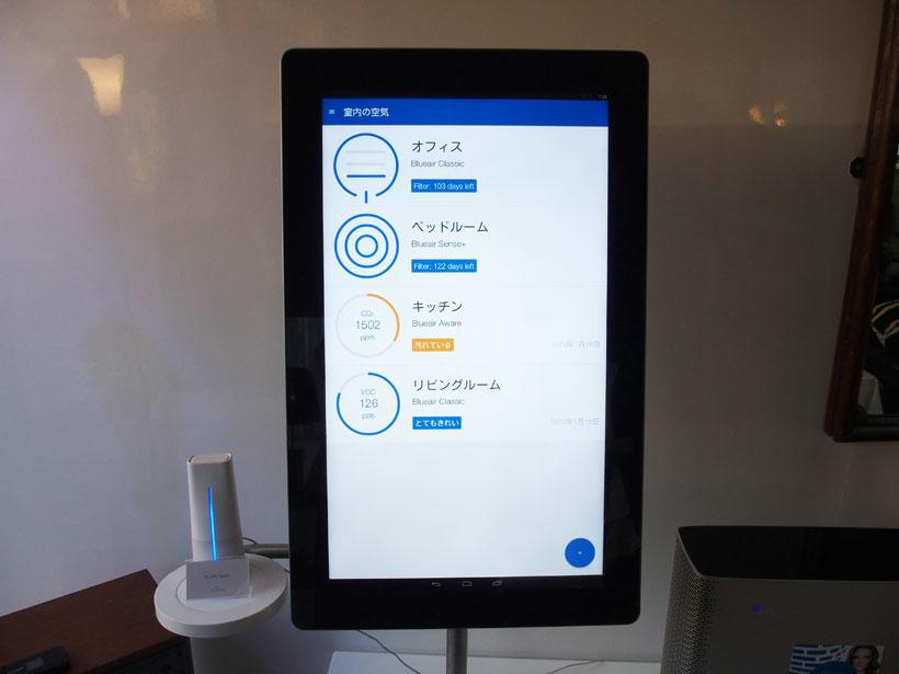 ↑部屋の空気の状態が確認できるアプリ画面。Blueair AwareのデータはBlueair Sense+にも転送され、最適な状態になるように稼働します
