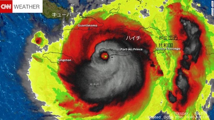 ↑ハリケーン・マシューの赤外線画像。偶然にも悪魔の顔のようになった
