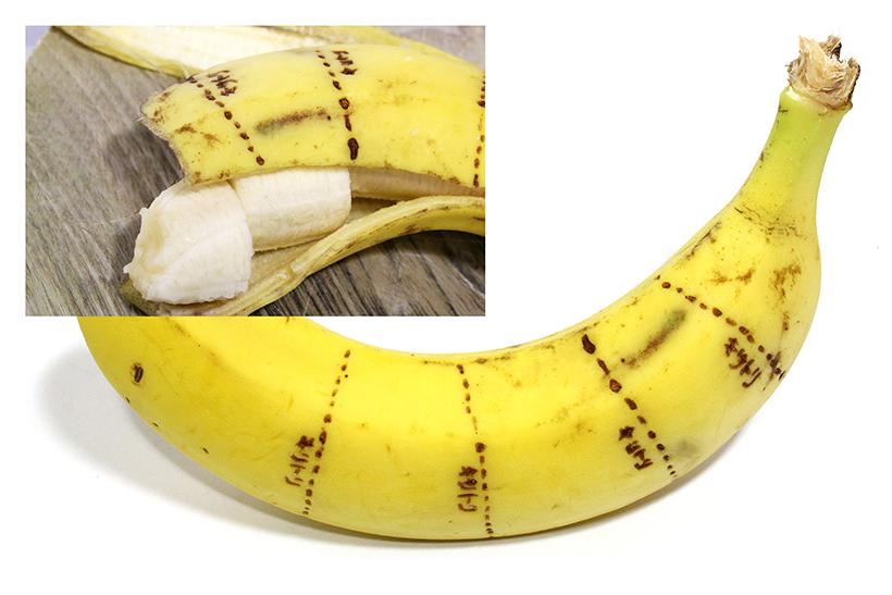 ↑手品でお馴染み「皮をむいたら切れてるバナナ」を、よりわかりやすく