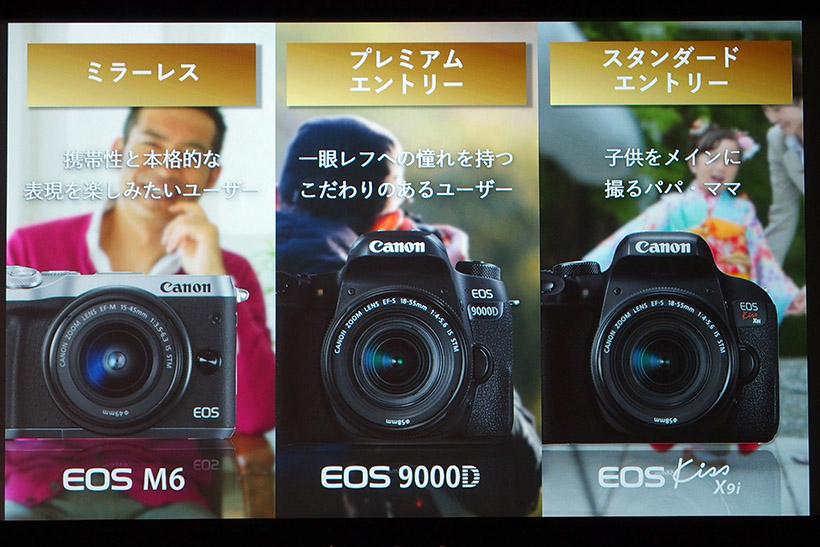 ↑今回発表のEOS M6、EOS 9000D、EOS Kiss X9iはいずれもエントリーモデルとしての位置付け