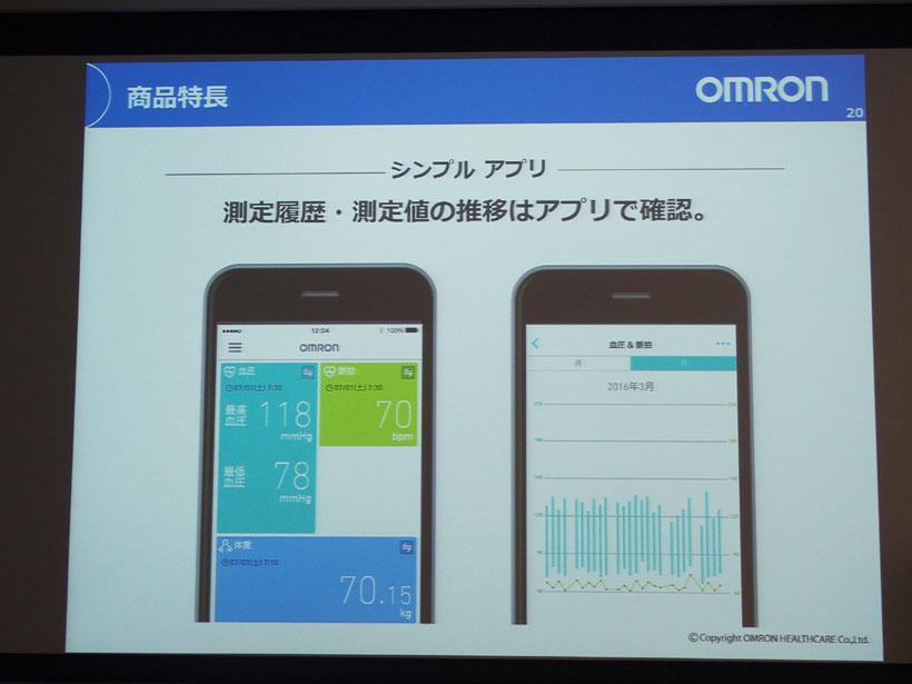 ↑測定結果はスマートフォンに蓄積できます