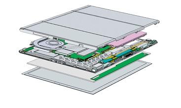 ↑リアキャビネット、フロントシャーシとタッチパネルで、弱い部品(基板、液晶)を挟み込む3層構造。堅牢性が高い