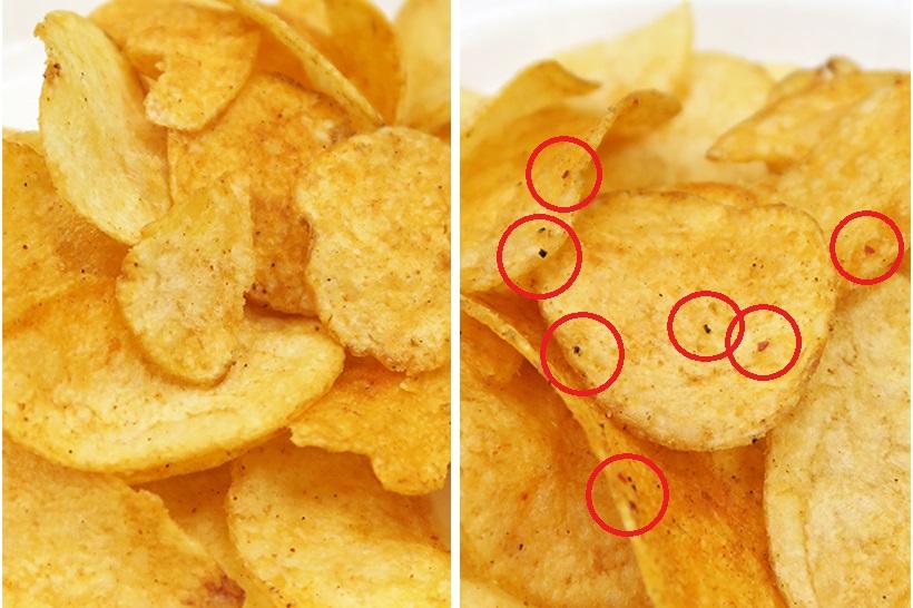 ↑表面をよく見ると、「Sパンチ」(右)には刺激の元となる香辛料が散らされています