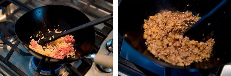 ↑豚ひき肉(50g)、たけのこ(30g)、しょうが(ひとかけ)、ごま油(小さじ1)、白いりゴマ(大さじ1)に、調味料はしょうゆ(大さじ1)、酒(大さじ1)、砂糖(大さじ1)、水(大さじ1)、豆板醤(小さじ1/3)を用意。①たけのことしょうがは粗みじん切りにする。②鍋にごま油と1のしょうがを入れて加熱し、香りがしてきたらひき肉を加えてほぐしながら炒める。③調味料とたけのこを加えて汁気がほとんどなくなるまで煮る。④白いりゴマを加えて混ぜ合わせたら、「たけのこの肉味噌」の完成です