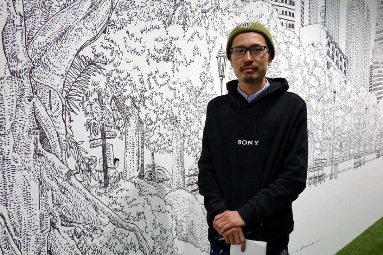 ↑120mの壁面をマジックで描いたウォールアートはイラストレーター黒地秀行さんの手によるもの