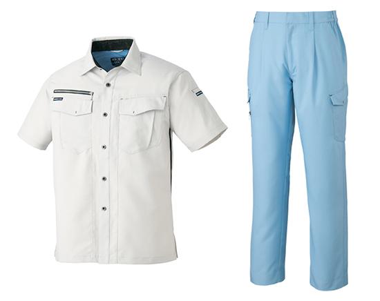 ↑「G-Cool半袖シャツ」(左)と「G-Coolカーゴパンツ」(右)
