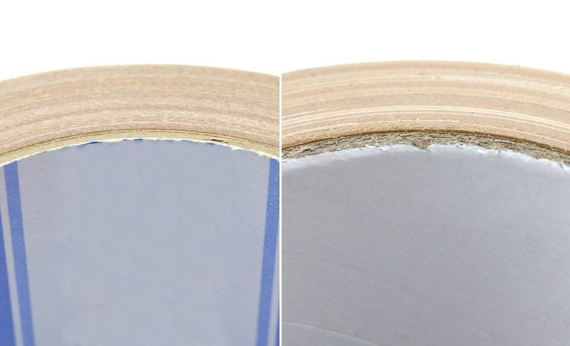 ↑左が従来品で右がカドなしテープ。痛いカドが削り落としてあるのがわかる