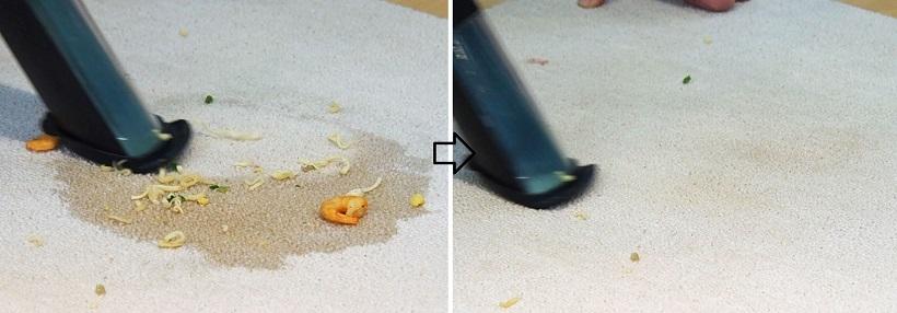 ↑ノズルをカーペットに当ててスープのシミも吸い取ります。少し具材が残っていますが、なんとここまで20秒かかっていません