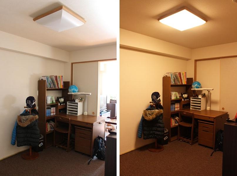 ↑日中、自然光を採りこんでも薄暗い息子の子ども部屋。照明は温かみのある色(右)で、朝に点灯してもシャキッと目覚めにくい様子