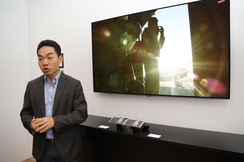 ドルビー・ラボラトリーズのプライベートセミナーにて、スマホ向けのDolby Visionの技術的な特徴について語るTaeho Ho氏