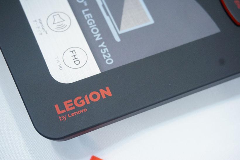 ↑パームレストにプリントされた「LEGION」のロゴ