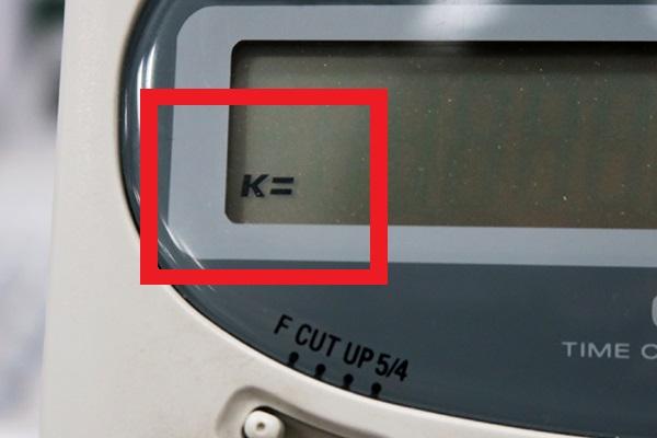 ↑「×」の2度押し後は液晶に「K=」と表示される