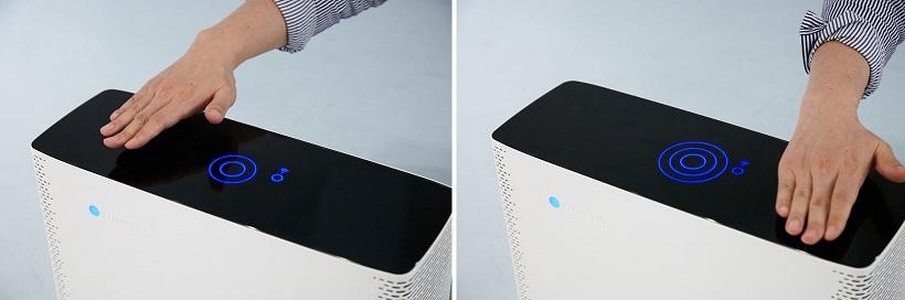 ↑操作ボタンは一切なし。製品の上部に手をかざすことで電源ON/OFFや風量調整を行います。タイマーなどの細かな設定はスマホから行えます