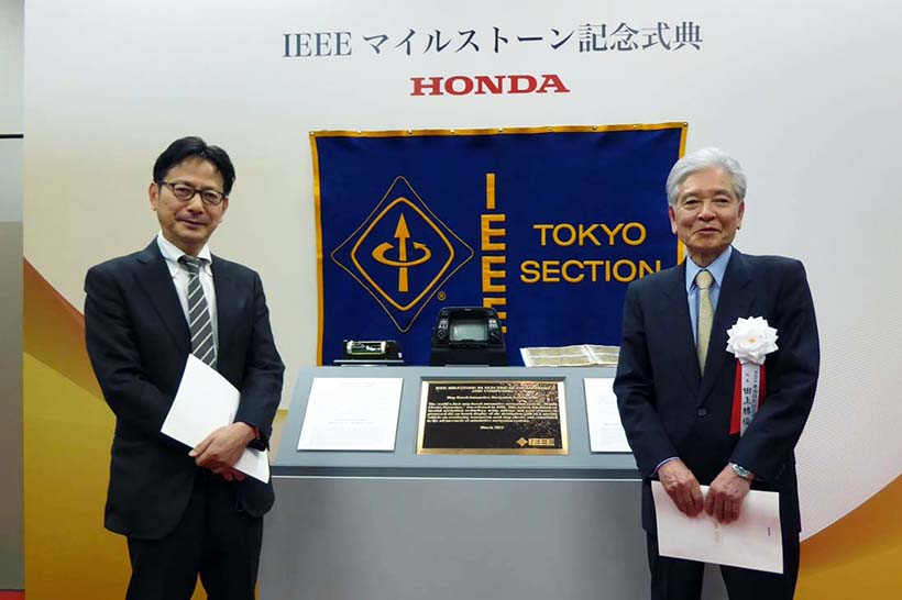 ↑元インターナビ室長 今井 武氏(左)と田上勝俊氏。2人はホンダのカーナビ開発で師弟関係にある