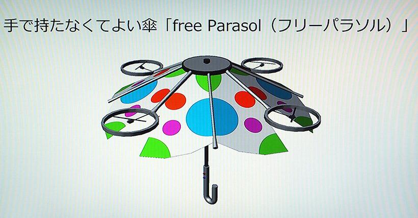 ↑傘が浮いて手で持たなくて済むfree Parasol