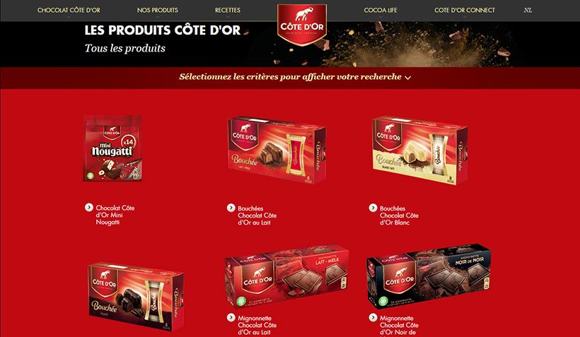 ↑ベルギーで売られているコートドールの商品群