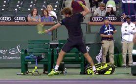 錦織どころじゃない! アメリカ期待の若手テニス選手、試合でラケットを破壊しまくる