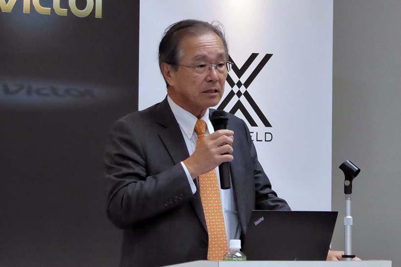 ↑ビクターブランドの復活について、その背景を語る同社代表取締役社長 兼 CEOの辻孝夫氏
