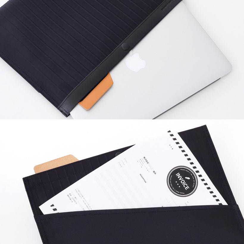 ↑背面にはすぐ取り出せる書類ポケット付き。ノートPCも入るゆったりサイズ