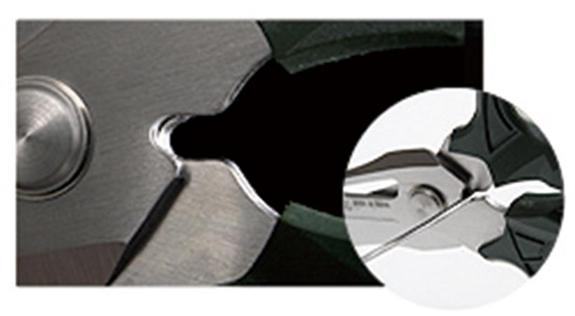 ↑ワイヤーカッター: 刃の反対側は針金用のワイヤーカッター