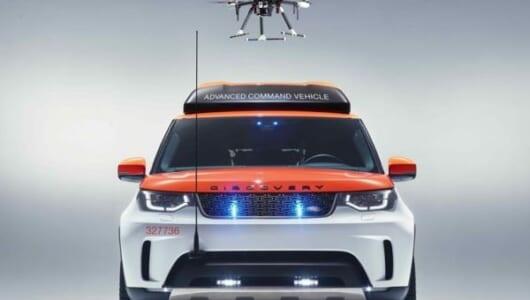 走行中でもドローンが着陸可能! ランドローバー×赤十字のレスキューカー「プロジェクト・ヒーロー」