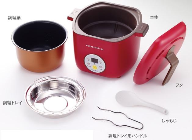↑調理鍋の上に調理トレイをセットして二段調理も可能。ごはんとおかずが同時に作れます