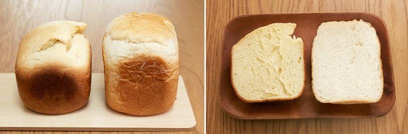 ↑左が60分パンで、右は普通の「食パンコース」で焼いたパン。60分パンは、少量でもどっしりした食べ応えになります