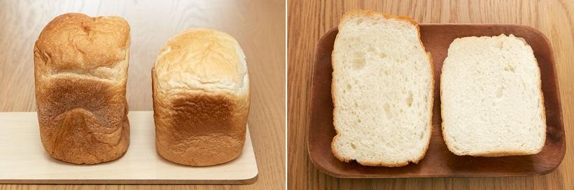↑パン・ド・ミ(左)と食パン(右)を比較。パン・ド・ミのほうが外の皮が薄くパリっとしていて、中がふんわりと焼き上がっているのが伝わるでしょうか