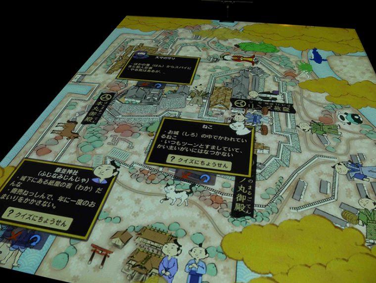 ↑高知城周辺にいるキャラクターをタッチすると、クイズを出題してきます。ゲームのような構成となっており、楽しみながら学習することができます