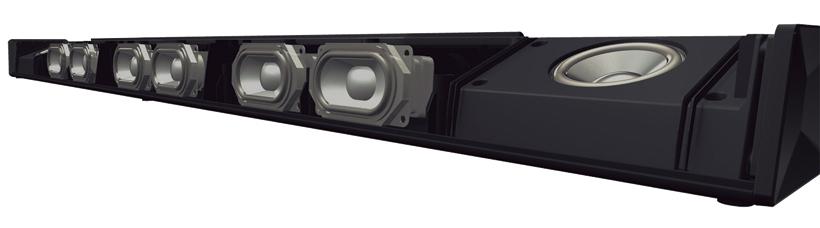↑バースピーカーには「ドルビー・イネーブルド・スピーカー」を搭載。天井の反射を利用して上からの音を加える