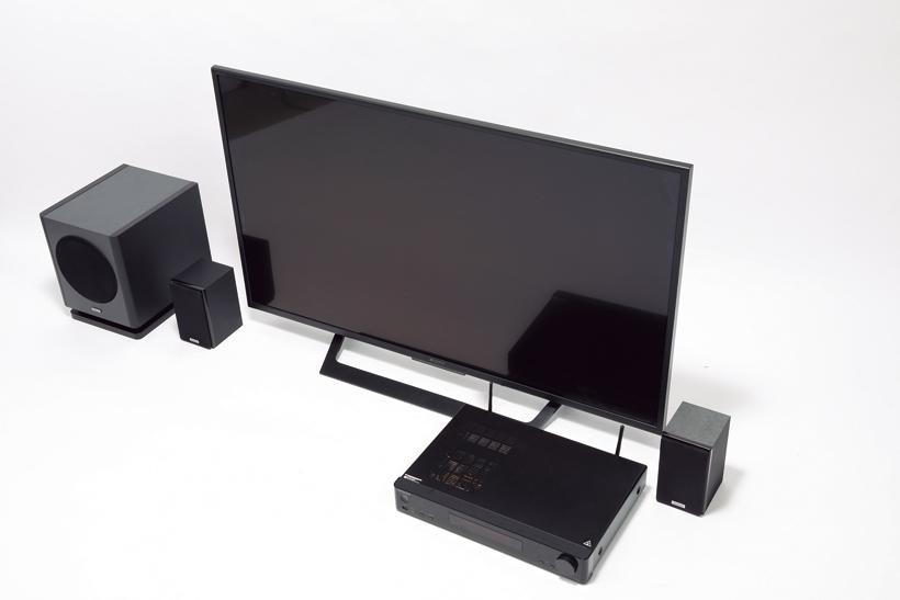 ↑AVレシーバーとテレビはHDMI接続。スピーカー・サブウーファーは付属の一般的なスピーカーケーブルでつなぐ
