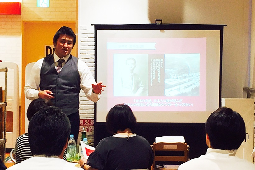 ↑昨年10月9日、オリンピック川崎鹿島田店の酒専門店で開催したウイスキーセミナー。洋酒の魅力を存分に語った