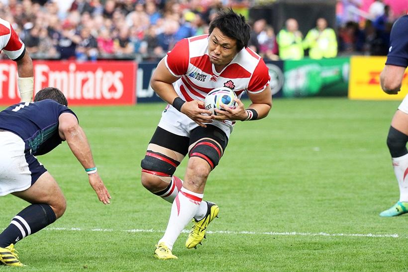 ↑ラグビーワールドカップでは日本代表として3試合に出場。歴史的快進撃に大いに貢献した