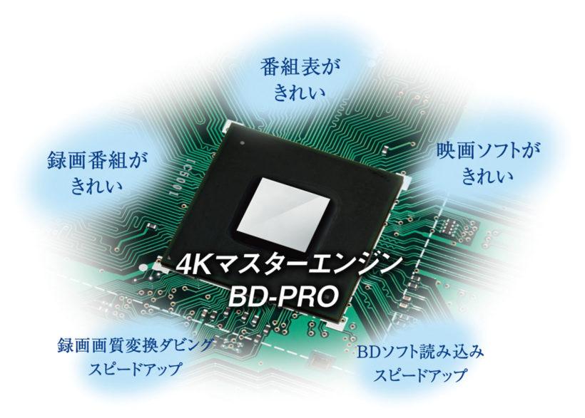 ↑映像を司る新開発エンジン。4Kアップコンのほか、BDソフト読み込み速度の向上などにも寄与する
