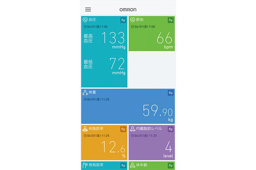 ↑「オムロンコネクト」のUI。様々なデータが一覧できて見やすいです